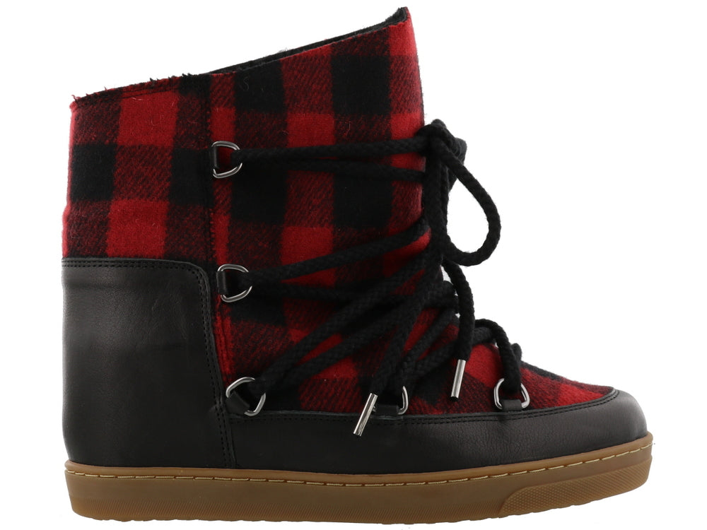 Isabel Marant Nowles Check Snow Boots, Red