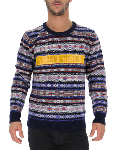 Junya Watanabe Reflective Stripe Jacquard Knitted Sweater