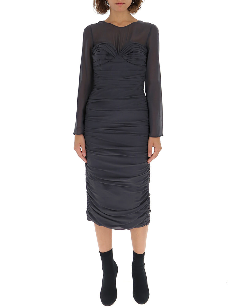 MAX MARA MAX MARA SHEER RUCHED DRESS