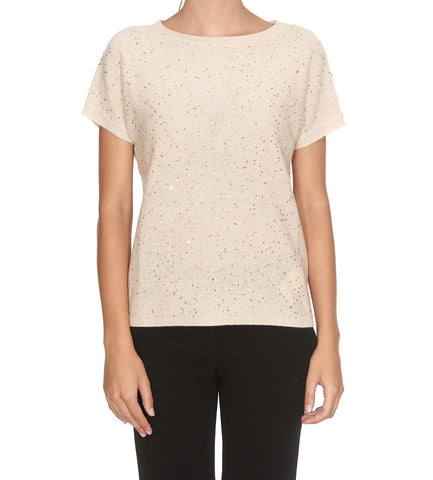 Max Mara Studio Sequinned Short Sleeve Knit Top