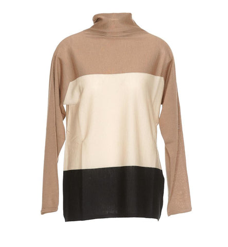 Max Mara Studio Colour Block Turtleneck Sweater