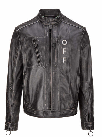 Off-White Distressed Biker Jacket