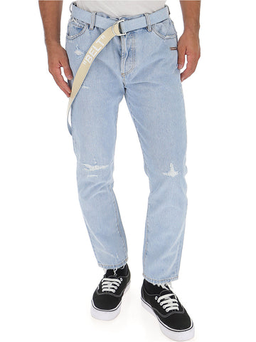 Off-White Distressed Slim Fit Jeans