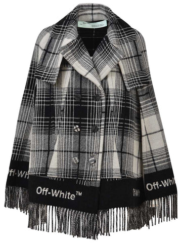 Off-White Fringed Pea Coat Cape