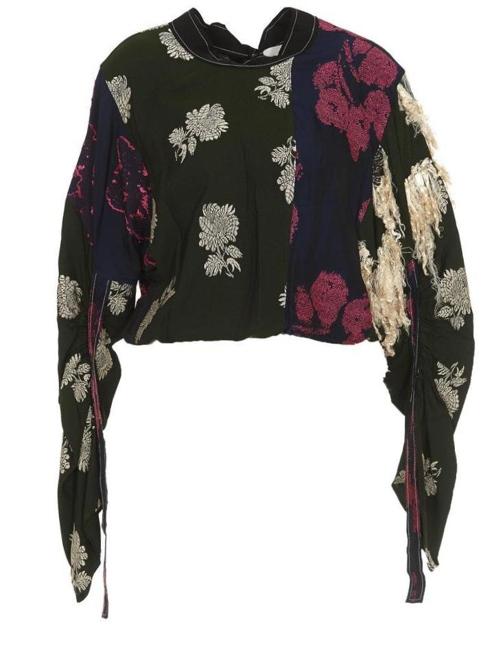 PHILLIP LIM Phillip Lim Cropped Gathered Sleeve Shirt in Multi