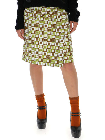 Prada Check Print Wraparound Skirt