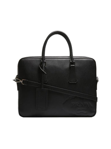 Prada Embossed Saffiano Laptop Bag