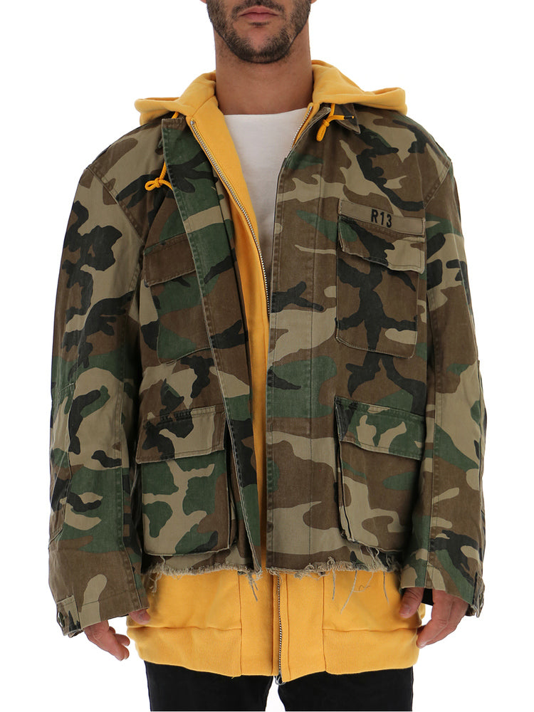 R13 Jackets R13 CAMOUFLAGE PRINT HOODED JACKET
