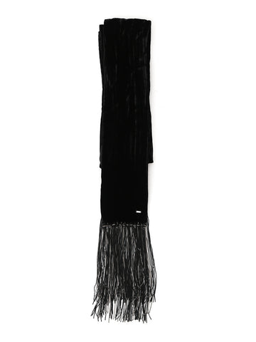 Saint Laurent Logo Plaque Fringe Scarf