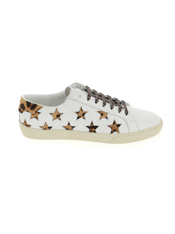 Saint Laurent Leopard Print Star Court Classic Sneakers