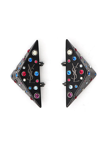 Saint Laurent Crystal Embellished Logo Earrings