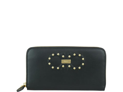 Salvatore Ferragamo Studded Gancio Zip Wallet