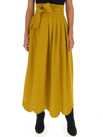 Valentino Pleated Scalloped Hem Skirt