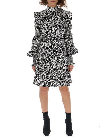 Wandering Leopard Print Ruffle Sleeves Dress
