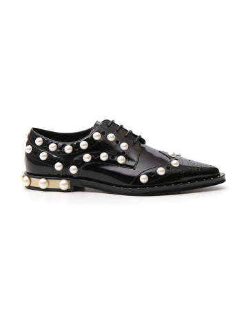 Dolce & Gabbana Pearl Embellished Lace Up Shoes