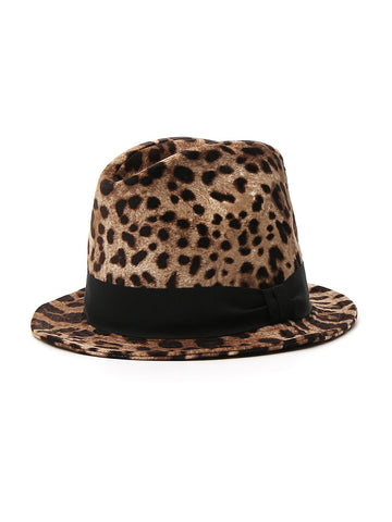 Dolce & Gabbana Leopard Print Bow Detail Trilby Hat