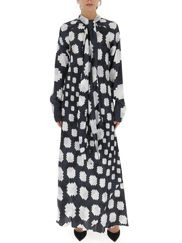 Marni Graphic Printed Pussybow Maxi Dress
