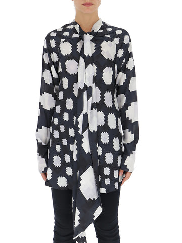 Marni Graphic Printed Pussybow Blouse