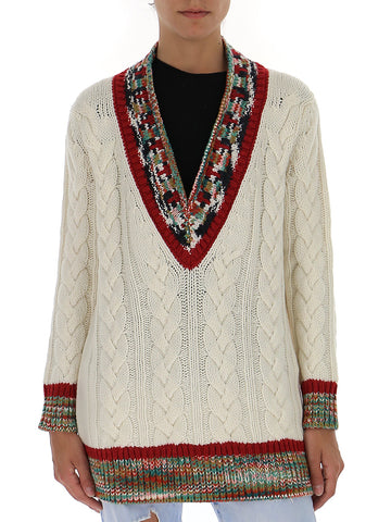 Missoni Contrasting Panelled Cable Knit Sweater