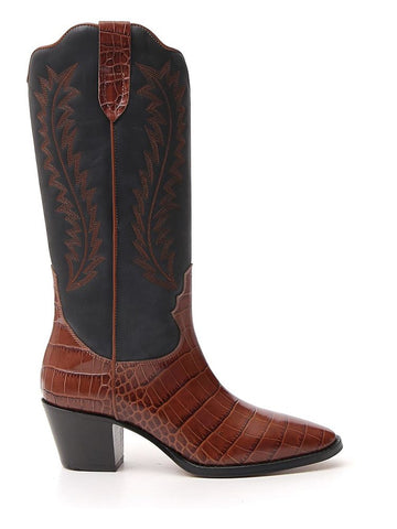 Paris Texas Panelled Crocodile Effect Knee High Boots