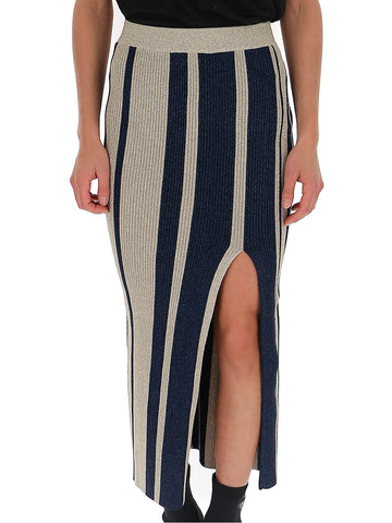 Self-Portrait Striped Front Slit Skirt