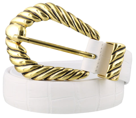 Alberta Ferretti Embossed Crocodile Effect Buckle Belt