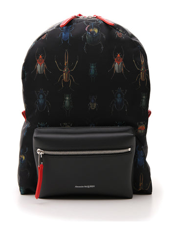 Alexander McQueen Insect Pattern Zipped Backpack