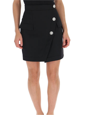 Balmain Button Embellished Wrap Skirt