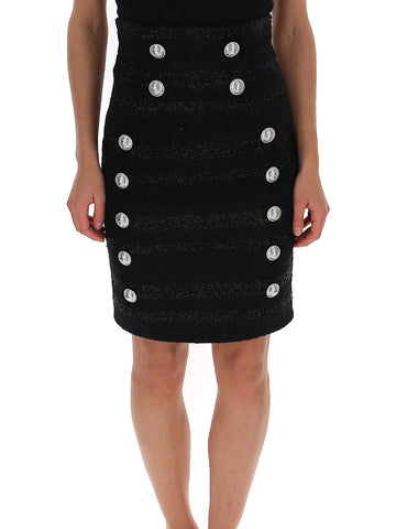 Balmain Double-Breasted Pencil Skirt