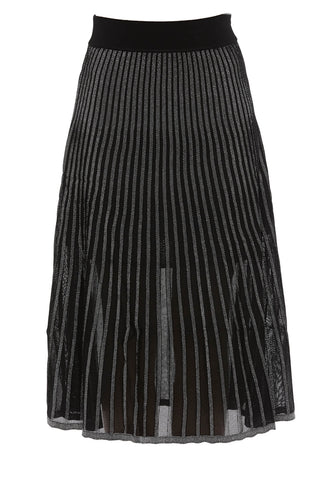 Balmain Semi-Sheer Pleated Midi Skirt