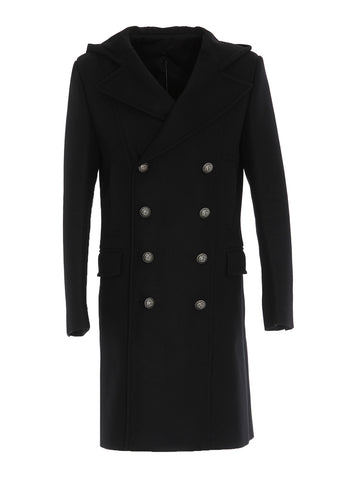 Balmain Hooded Double Breasted Coat