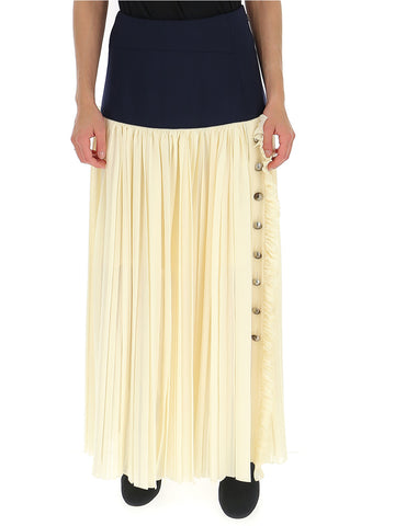 Chloé Contrasting Panelled Pleated Maxi Skirt