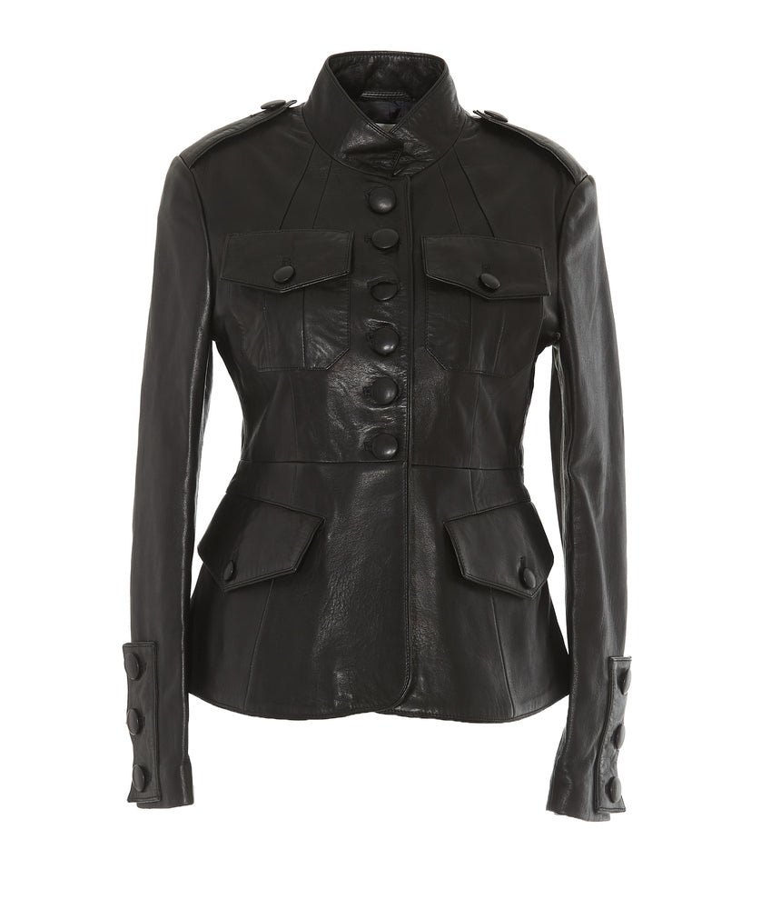 Faith Connexion Jackets FAITH CONNEXION BUTTONED CUFFED FITTED LEATHER JACKET