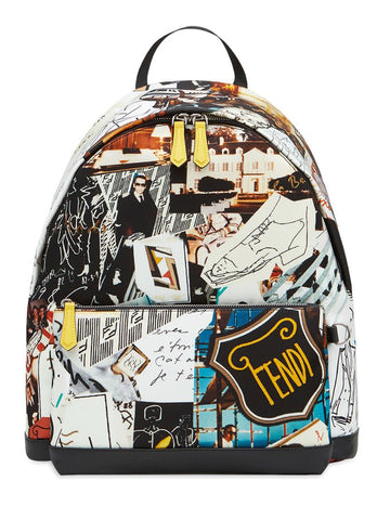 Fendi Karl Kollage Print Zipped Backpack