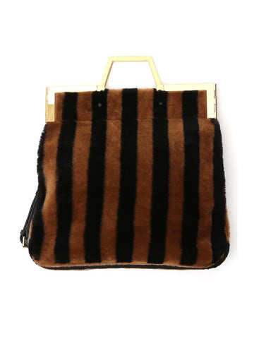 Fendi Striped Top Handle Shoulder Bag