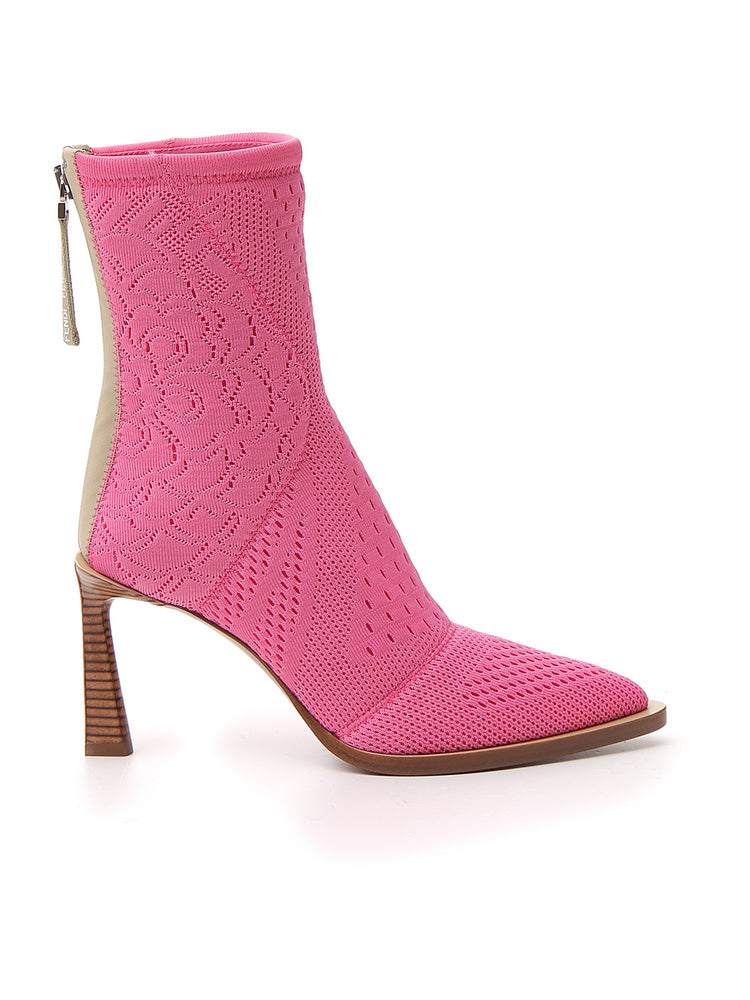 Fendi Boots FENDI TRONCHETTO POINTED TOE ANKLE BOOTS