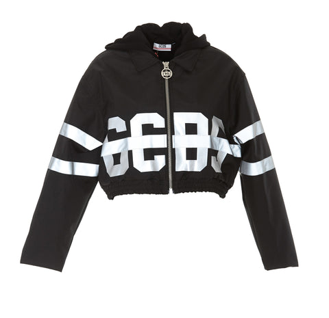 GCDS Logo Printed Hooded Cropped Jacket