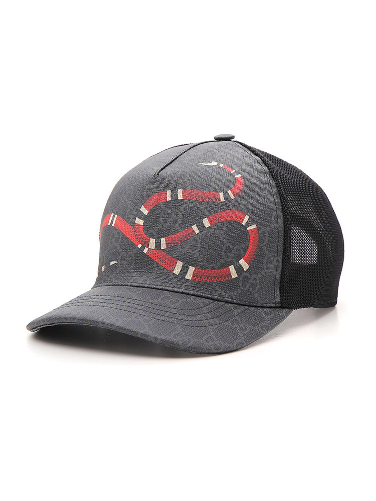 8506d116b Gucci Snake-Print Coated Canvas & Mesh Trucker Hat In Black | ModeSens
