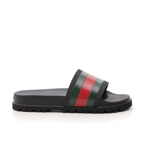 Gucci Web Detail Rubber Slides