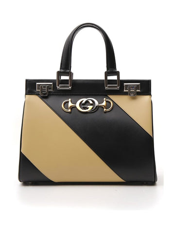 Gucci Zumi Diagonal Striped Tote Bag