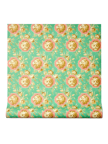 Gucci Lion Floral Printed Wallpaper