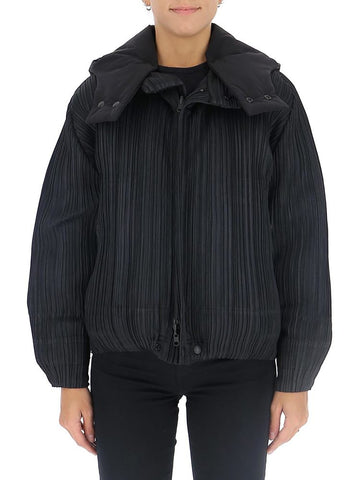 Pleats Please By Issey Miyake Hooded Bomber Jacket