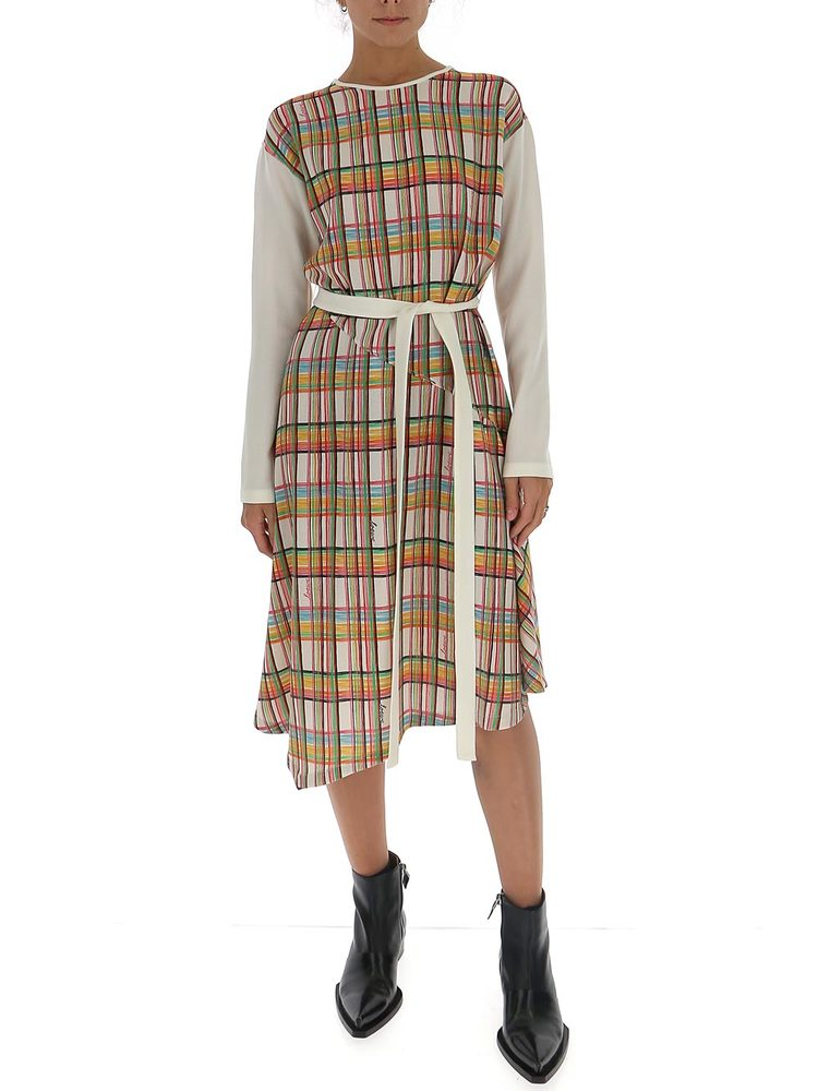 Loewe Dress LOEWE TARTAN PANELLED BELTED DRESS
