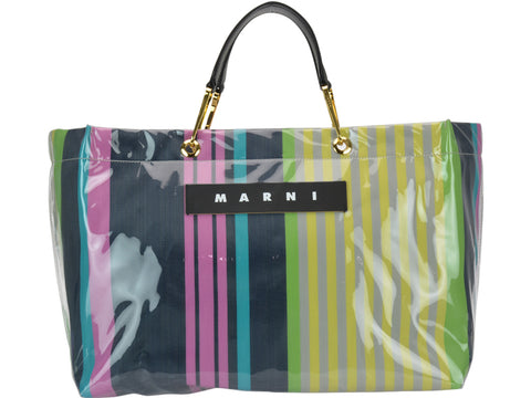 Marni Logo Striped Rainbow Tote Bag