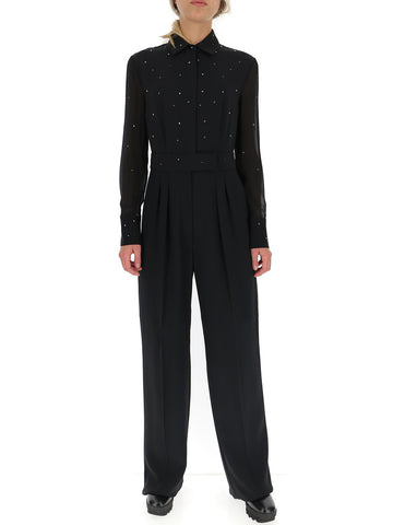 Max Mara Crystal Embellished Flared Jumpsuit