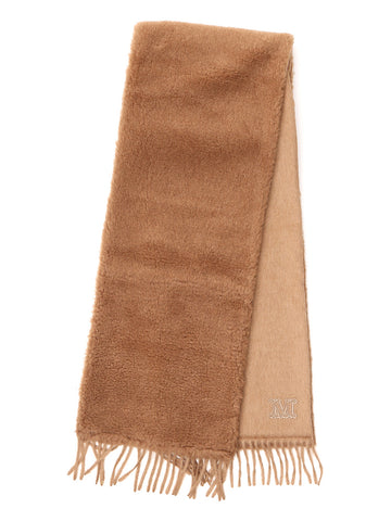 Max Mara Logo Embroidered Fringed Scarf
