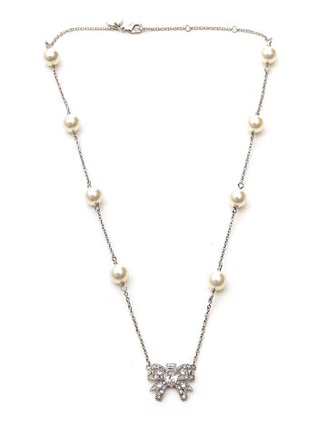 Miu Miu Crystal Bow Pearl Embellished Necklace