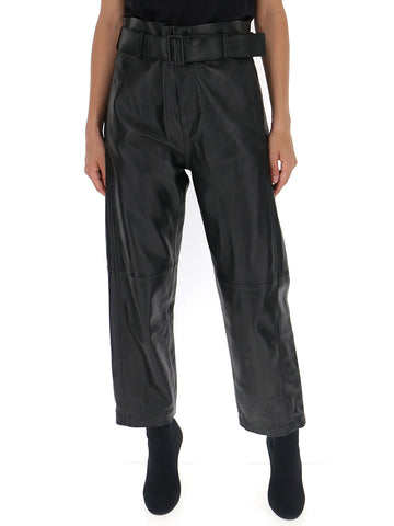 Mm6 Maison Margiela Belted Leather Trousers