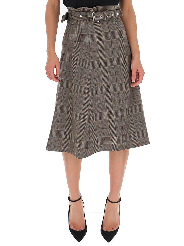 Proenza Schouler Skirts PROENZA SCHOULER PLAID BELTED FLARED SKIRT