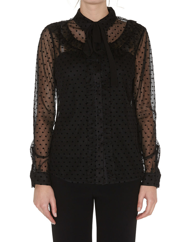 Red Valentino Sheer Polka Dotted Neck Tie Blouse